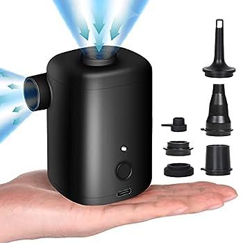 FreeLionVon Pompe Electrique 2 en 1 Gonfleur et Degonfleur Portable sans Fil USB Rechargeable, Mini Pompe à Air avec 5 Embouts pour Le Matelas,Camping Coussin,Bateau,Anneau de Natation
