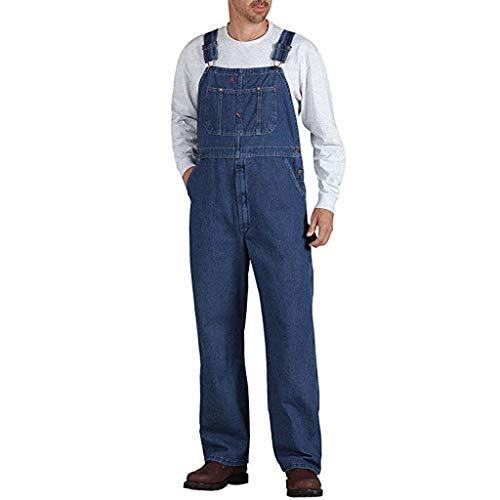 Minikimi heren lange broek jeans casual retro denim cargo stonewash jeansbroek voor mannen Baggy denim overall jeans stijlvolle jumpsuits cargobroek
