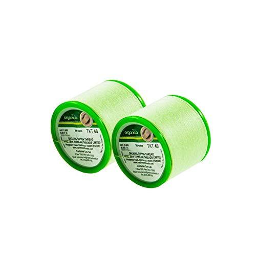 Lote de 2 bobinas de hilo de algodón orgánico de la India para depilación de cejas, 300 m cada bobina