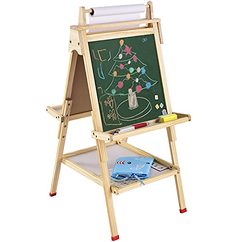 USELUCK Easel for Kids with Paper Roll Double Sided Drawing Easel Dry Erase Board & Chalkboard Standing Adjustable Height Drawing Easel Board Bonus Magnetic Stickers and Other Accessories for Kids