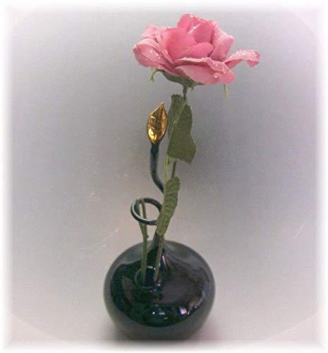 Rosenvase Einblumenvase Farbglas schwarz Goldblatt Vase für Rosen Handmade