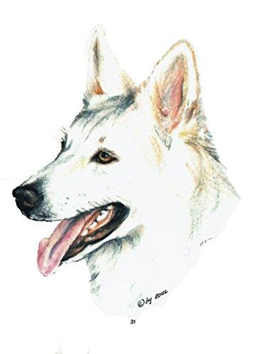pet-lovers-gifts Aufkleber/Sticker/Autoaufkleber - Hunde Weißer Schäferhund [r031]