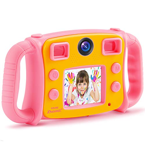 DROGRACE 子供用デジタルカメラ デュアルカメラ 1080P録画 2インチ 4倍ズーム タイマー撮影 多機能 日本語説明書 ピンク