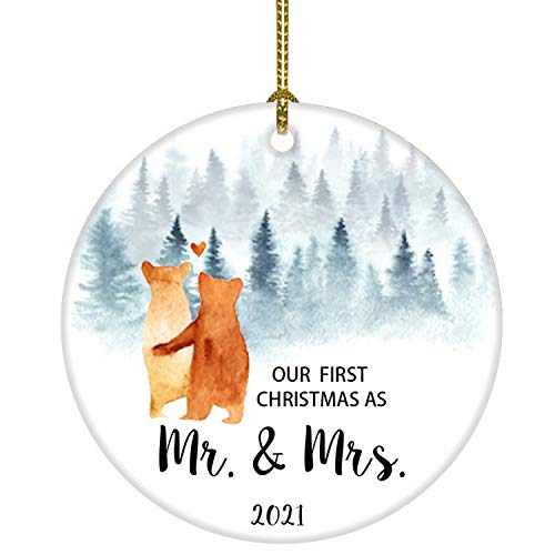 JUOOE Our First Christmas as Mr & Mrs Bear Tree Ornament Christmas Wedding Decoration Newlywed Couple 2020 (Orange Mr Mrs)