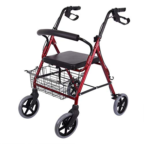 KIMCC Rollator 4 Rädern-Schwerlast Gehhilfe Mit Sitz Und Feststellbremse,Stahlrohrrahmen,Gehwagen Starke/Langlebige/Stabile/Zuverlässige Unterstützung Für Ältere Menschen