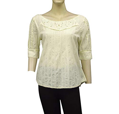 Kimchi Blue Urban Outfitters Embroidered Lace Cutout Beige Cotton Top