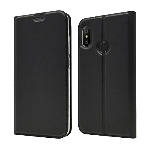 LAGUI Cover Adatto per Xiaomi Mi A2 Lite, Ultra Sottile Custodia a Portafoglio Semplice ed Elegante Con Chiusura Magnetica e Taschino Porta Tessere., nero