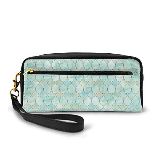 Federmappe Aqua und Gold Orientalisches Muster Stifttasche Make-up Tasche Brieftasche Große Kapazität Tragbare Make-up Taschen Make-up Organizer für Studenten oder Frauen