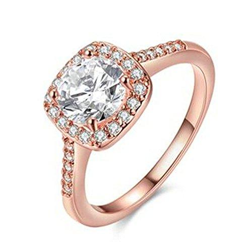Aeici Roségold Ring für Damen Modestil 18K Plated Quadrat Intarsien Cz Größe 52 (16.6)