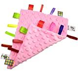 StoHua Baby Comfort Blanket with Tags - Soft Soothing Taggie Blanket with 3D Particles - Colorful Ribbons Infant Taggy Blanket Comforter appese Towel - Pink