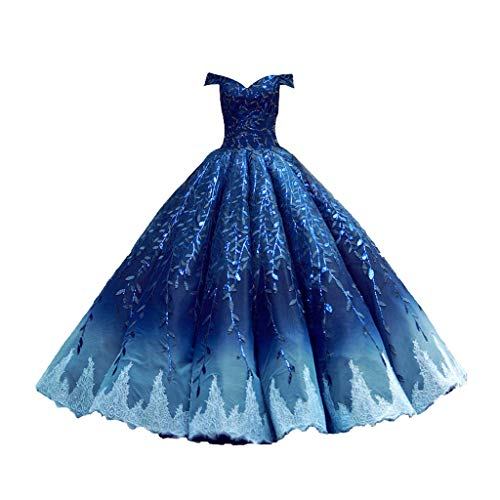Vestido de Novia de Novia Corte Palabra Hombro Princesa Princesa Enagua Qi gradiente Vestido de Boda (Color : Blue, tamaño : M)