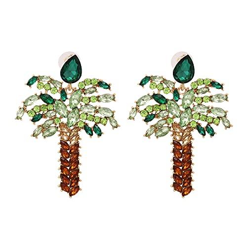 Pendientes de diamantes con incrustaciones de metal, personalidad creativa, adornos de oreja en forma de árbol
