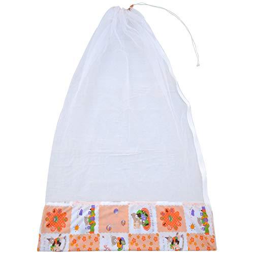Younique Mosquito Net for Baby Cradle Swing/Mosquito Net for Baby Jhula with Side Zip Opening (0-3 yrs) - Orange & White