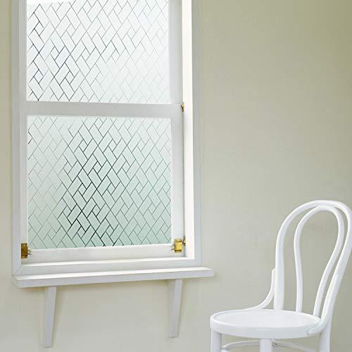 LMKJ Pegatinas electrostáticas esmeriladas con diseño de Rejilla 3D, película de Vinilo de Vidrio de privacidad, Utilizada para la película de Vidrio de decoración del hogar del baño A77 30x100cm