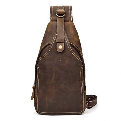 LUUFAN Men's Genuine Leather Sling Bag Chest Shoulder Backpack Crossbody Bag for Casual Sport Hiking Travel(Brown)