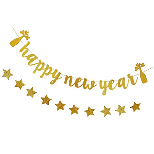 Amosfun Pack of 2 Happy New Year Banner with Stars Glitter 2021 Happy New Year Garland Christmas New Year Party Hanging Decorations Supplies New Year's Eve Decoration Golden