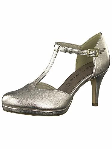 Tamaris Damen Pumps, Frauen Riemchen Pumps, Women Woman Abend Feier Spangenpumps t-spange elegant Business-Schuh Office,Light Gold,40 EU / 6.5 UK