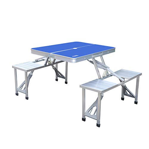 AHB Portable Folding Picnic Table with 4 Seats Chairs and Umbrella Hole, Lightweight Camping Table Compact Aluminum Camping Suitcase Table for Indoor Outdoor, Blue