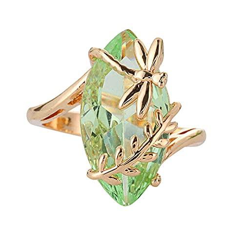 XCSM Envoltura de Hoja de libélula de Piedras Preciosas de Esmeralda Vintage Anillos de Oro chapados en Piedra de Cristal Verde Transparente para Mujeres Señoras Joyería de Aniversario de Boda
