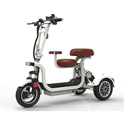 EWYI 3 Ruedas Scooters De Movilidad, Plegables Sillas De Ruedas Eléctricas Móviles con 2 Asientos, Velocidad De 22 Km/h, Triciclo Eléctrico Ligero para Adultos Mayores Di White-65km