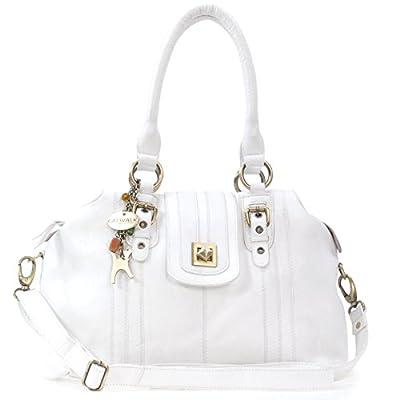 Catwalk Collection Handbags - Cuir Véritable - Sac porté épaule avec Bandoulière réglable et détachable/Besace/Sac à Main/Sac Porté Croisé - Femme - KATE - Blanc