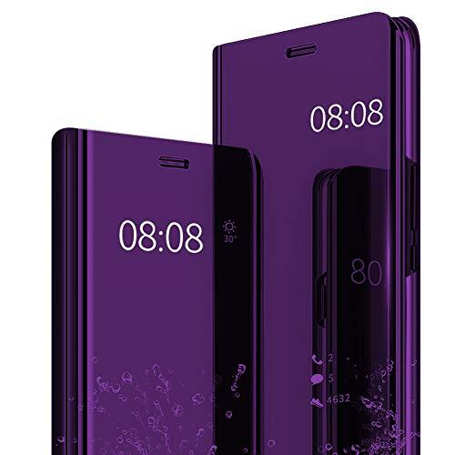 Hülle kompatibel mit Galaxy S9/S9 Plus, Spiegel Schutzhülle PU-Leder Flip Handy Case Tasche mit Standfunktion für Galaxy S9 Plus schwarz (Samsung Galaxy S9, Lila)