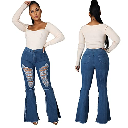 Women's Hight Waisted Stretch Ripped Skinny Jeans Distressed Denim Pants Tummy Control RIPP Trouser Distressed Slacks