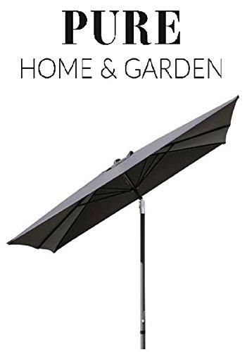 Pure Home & Garden Kurbelschirm 250x250 anthrazit, mit UV-Schutz 40 Plus, Knicker und abnehmbarem Bezug