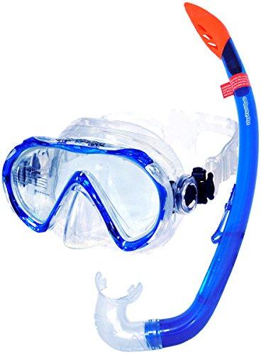 AQUAZON Korfu Equipo de esnórquel, Equipo de Buceo, Equipo de natación, Gafas de esnórquel con Cristal Templado, para niños, Adolescentes de 7 a 14 años, Colour:Blue