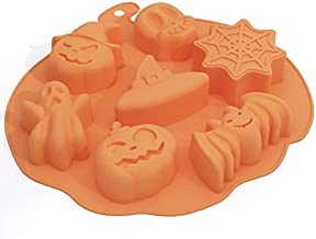 Fyuan Funny Bat Pumpkin Face Skull Ghost Silicone Fondant Cake Mold Chocolate/Sugar Craft/Ice Cube Tray, Halloween Party S...