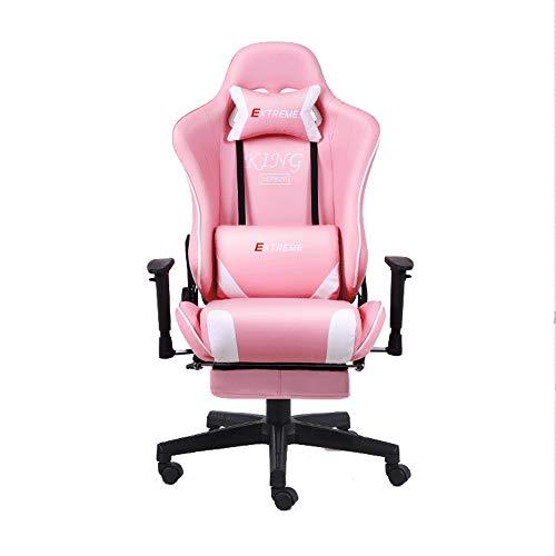 FYHpet Gaming-Stuhl, Bürostuhl, ergonomische Leder-Computertischstühle, bequemer höhenverstellbarer Drehstuhl mit Waffen