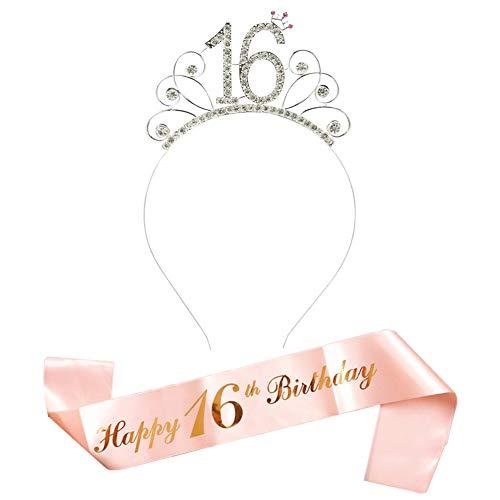 3806/5000 Rose Gold Happy 16. Geburtstag Schärpe und 16 Geburtstag Tiara Strass Krone Stirnband für 16 Geburtstag Geschenk Party Zubehör 16. Geburtstag Dekoration Mädchen Frauen