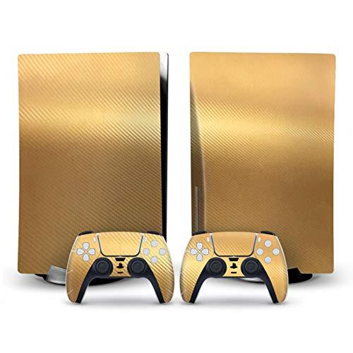 2PCS Carbon Fiber Stickers Decals für (CD-ROM-Version) PS5-Konsole und Gamecontroller Einfach zu kleben, Ihre Konsole zu schützen, Ihr Spielgerät zu dekorieren, Gold
