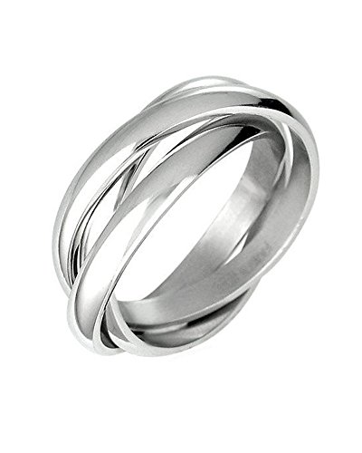 iJewelry2 Triple Russian Interlocked Stainless Steel Men Unisex Wedding Band Rings Size 7 - UK N
