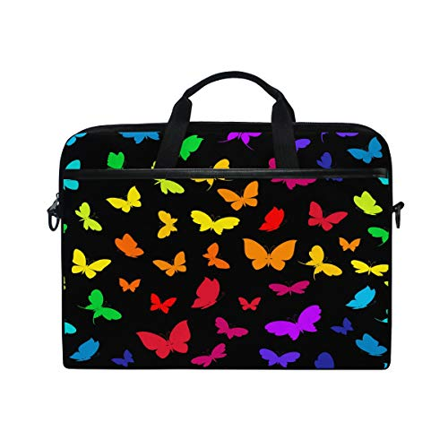 HAIIO Laptop Bag Case Colorful Butterfly Animal Pattern Computer Protector Bag 14-14.5 inch Travel Briefcase with Shoulder Strap for Women Men Girl Boys