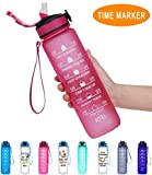 Giotto 32oz Large Leakproof BPA Free Drinking Water Bottle with Time Marker &...