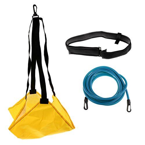 Sharplace Schwimmtraining Set Schwimmwiderstand Gürtel mit Elastikband und Bremsschirm für Widerstandstraining oder Rundentraining - Gelb + Blau