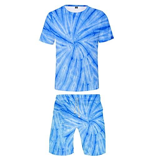 Novedad Unisex Camiseta con Estampado 3D Camisetas de Manga Corta y Bañadores para Hombre Pantalones Cortos Divertidos Bañadores de Secado Rápido Bañadores con Cordón(Azul 6,M)