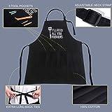 FASCINATE Lustige Schwarze Schürzen für Männer, Frauen mit 3 Taschen - Vatertagsgeschenke, Vatergeschenke, Geschenke für Männer - Vatertagsgeschenke für Ehemann, Vater, Opa, Ihn - Küchen-Kochschürze - 3