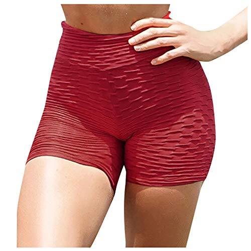VESNIBA Mallas cortas de deporte para mujer, cintura alta con control de abdomen, pantalones cortos de ciclismo, pantalones deportivos, pantalones cortos rojo L