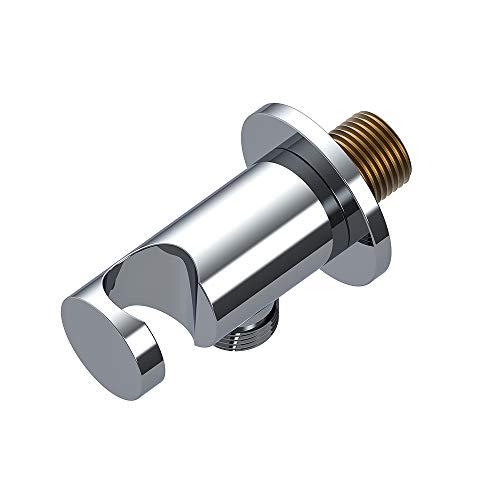 runder Wandanschlussbogen mit integrierter Handbrausehalterung, 1/2 Zoll Anschluss, verchromt