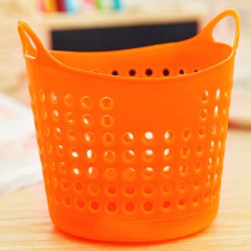 ZYLDM Wasserij mand Kleurrijke Duurzame Prullenbak Flexibele Plastic Stationery Opslag Mand Dorm Hoge Kwaliteit Wasserij Closet Organizer Bins ORANJE