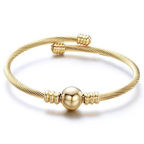 KunBead - Bracciale rigido in acciaio INOX, per donne e ragazze e Acciaio inossidabile, colore: Placcato oro., cod. UKKUNBR012ST-008GOLD