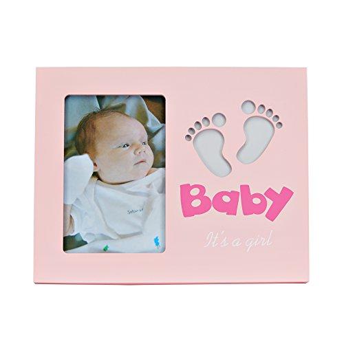 LED baby photo frame - LED Baby Fotorahmen - Baby Bilderrahmen mit LED Beleuchtung Fuß-Motiv - It's a girl