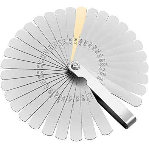 JAOMON Galgas de Espesores Galgas de espesor de 32 Piezas con Cuerda, Herramienta de Medición de Hendidura Medición de Cuchillas de Calibre de Espesor Plegables de Acero INOX