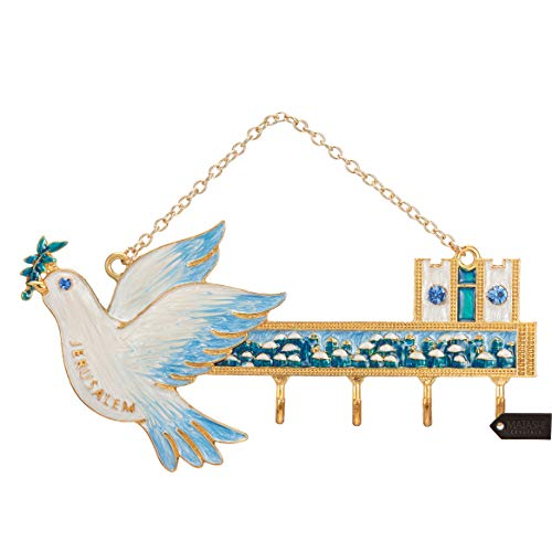 Matashi Hand-Painted Blue and Ivory Enamel Dove and Jerusalem Cityscape Design Decorative Hanging Wall Hooks for Entryway Hallway Bedroom Kitchen and Home Decor