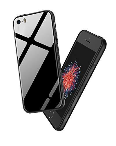 PRO-ELEC Gehärtetes Glas Rückseite und TPU Rahmen Kompatibel mit iPhone 5 Hülle, Phone SE Hülle Stoßdämpfend Kratzfest Handyhülle, Schwarz