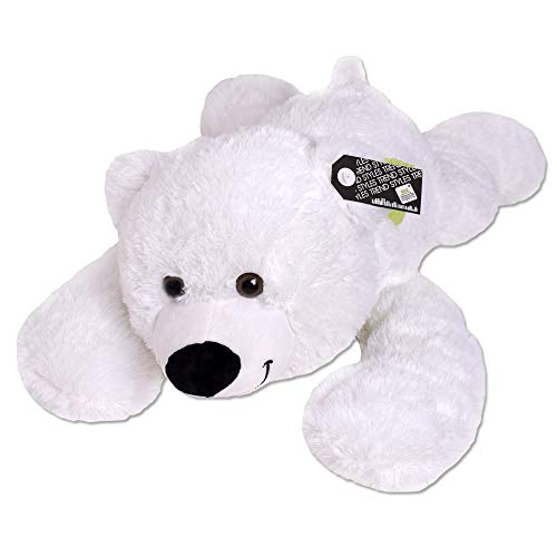 TE-Trend XXL Teddybär Giant Teddy Bear Riesen Teddy Liegend Plüschtier Bär Schal Stofftier Kuscheltier 80cm Weiß