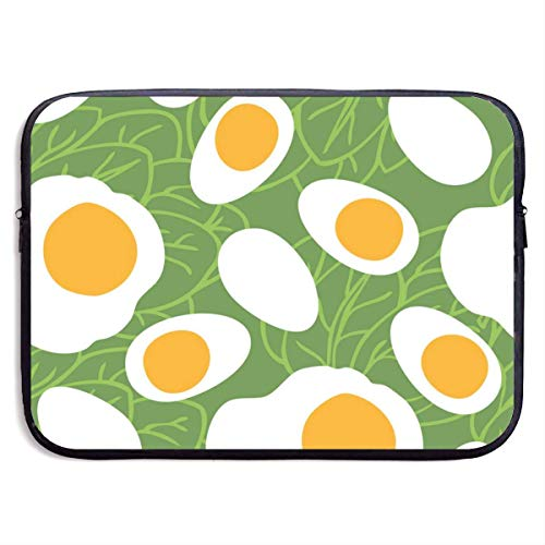 Laptop Sleeve Case Protective Padded Zipper Cover Food Collection Eggs with Spinach,Water-Resistant Neoprene Notebook Computer Pocket Tablet Briefcase Carrying Bag/Pouch Skin Cover