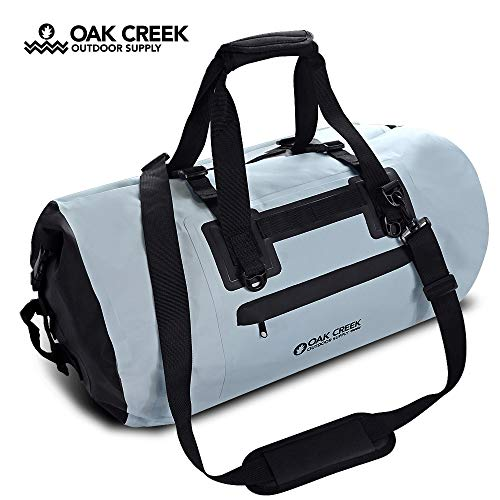 Oak Creek Overlook Falls 55L Dry Bag Duffel. Premium Waterproof Duffel Bag with Covered Zippered Pocket. PVC Construction. Keep Your Gear Dry